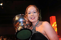 15-6-2014: Sinead Rees from Avonmore Musical Society celebrates winning the 'Best Comedienne' Gilbert Section for her role as 'Grandma' in 'The Addams Family' at the annual Association of Irish Musical Societies (AIMS) annual awards ceremony in Killarney at the weekend.<br /> Picture by Don MacMonagle<br /> <br /> PR Photo REPRO FREE