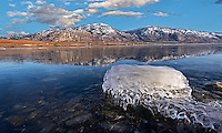 Fine Art Landscape Photograph of Ice formations on Osoyoos Lake in British columbia Canada.<br />
