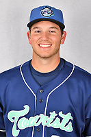 Asheville Tourists infielder Grant Lavigne (34) during media day at McCormick Field on April 2, 2019 in Asheville, North Carolina. (Tony Farlow/Four Seam Images)