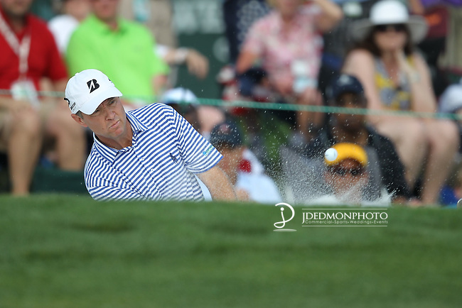 May 8,2011 -  Davis Love hits out of the bunker on 15.  Lucas Glover wins the tournament in sudden death over Jonathan Byrd at Quail Hollow Country Club,Charlotte,NC.