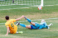 June 4, 2016: CAITLIN FOORD (9) of Australia kicks a goal during an international friendly match between the Australian Matildas and the New Zealand Football Ferns as part of the teams' preparation for the Rio Olympic Games at Morshead Park in Ballarat. Photo Sydney Low