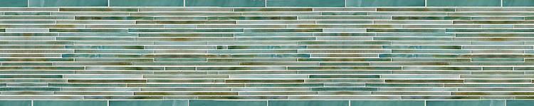 "8"" Glass Tatami border, a hand-cut jewel glass mosaic, shown in glass Aquamarine and Turquiose."