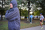 Denis Brogniart, French host of French reality television show Survivor, prepares in the first corral on Columbus Drive just before the start of the Chicago Marathon in Chicago, Illinois on October 11, 2009.