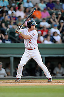 Left fielder Mike Meyers (2) of the Greenville Drive bats in a game against the Charleston RiverDogs on Sunday, May 24, 2015, at Fluor Field at the West End in Greenville, South Carolina. Charleston won 3-2. (Tom Priddy/Four Seam Images)
