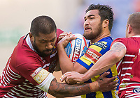Picture by Allan McKenzie/SWpix.com - 13/07/2017 - Rugby League - Betfred Super League - Wigan Warriors v Warrington Wolves - DW Stadium, Wigan, England - Warrington's Peta Hiku is tackled by Wigan's Frank-Paul Nuuausala.