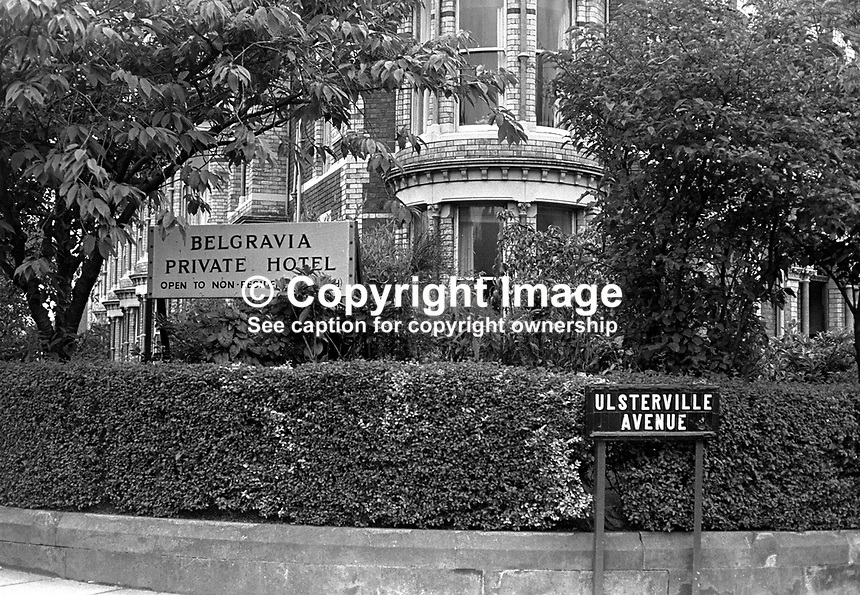 Belgravia Hotel, Belfast, N Ireland, UK. The hotel was created from a block of elegant terrace houses in the suburbs of South Belfast.  Outwardly they retained the appearance of individual homes. 197308220561b..Copyright Image from Victor Patterson, 54 Dorchester Park, Belfast, UK, BT9 6RJ..Tel: +44 28 9066 1296.Mob: +44 7802 353836.Voicemail +44 20 8816 7153.Skype: victorpattersonbelfast.Email: victorpatterson@mac.com.Email: victorpatterson@ireland.com (back-up)..IMPORTANT: If you wish to use this image or any other of my images please go to www.victorpatterson.com and click on the Terms & Conditions. Then contact me by email or phone with the reference number(s) of the image(s) concerned.