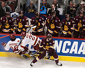 Evan Janssen (DU - 26), Matt Marcinew (DU - 23), Joey Anderson (UMD - 13) - The University of Denver Pioneers defeated the University of Minnesota Duluth Bulldogs 3-2 to win the national championship on Saturday, April 8, 2017, at the United Center in Chicago, Illinois.