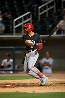 Chattanooga Lookouts Jose Siri (2) hits a single during a Southern League game against the Birmingham Barons on May 1, 2019 at Regions Field in Birmingham, Alabama.  Chattanooga defeated Birmingham 5-0.  (Mike Janes/Four Seam Images)