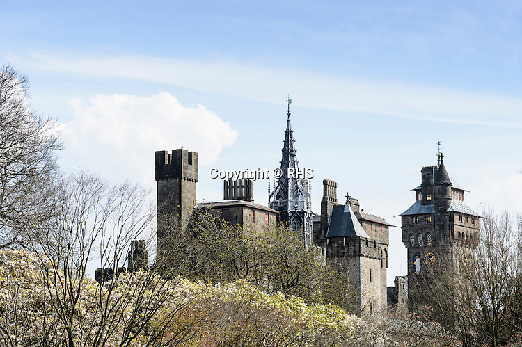 Cardiff Castle seen from the RHS Show Cardiff 2016.