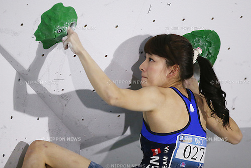 Risa Ota (JPN),<br /> APRIL 23, 2016 - Sports Climbing : <br /> IFSC Climbing World Cup - Bouldering Kazo 2016 <br /> Women's Qualification <br /> at Kazo Civic Gymnasium, Saitama, Japan. <br /> (Photo by Shingo Ito/AFLO SPORT)