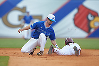 Steven Wells, Jr. (7) of the Florida State Seminoles is tagged out by Max Miller (5) of the Duke Blue Devils as he attempts to steal second base in the first semifinal of the 2017 ACC Baseball Championship at Louisville Slugger Field on May 27, 2017 in Louisville, Kentucky. The Seminoles defeated the Blue Devils 5-1. (Brian Westerholt/Four Seam Images)