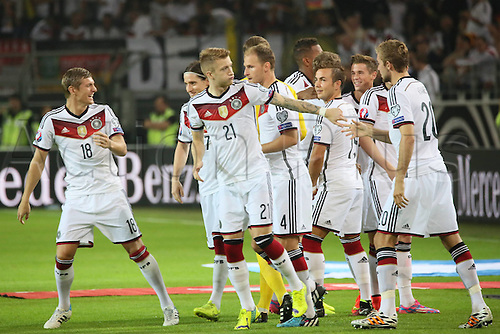 07.09.2014. Dortmund, Germany.   international match Germany Scotland  in Signal Iduna Park in Dortmund. German Team celebrate their first goal from Mueller