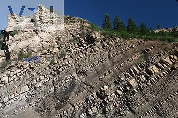 Cretaceous mancos shale showing layering. Maroon Bells Wilderness Area, White River National Forest, Colorado