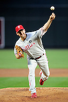 Apr. 25, 2011; Phoenix, AZ, USA; Philadelphia Phillies pitcher Cliff Lee throws in the first inning against the Arizona Diamondbacks at Chase Field. Mandatory Credit: Mark J. Rebilas-