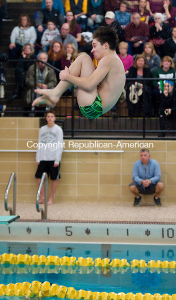WATERBURY,  CT-021615JS09- Holy Cross' Marco Scarpa completes a dive during their meet against Sacred Heart Monday at Kennedy High School. <br /> Jim Shannon Republican-American