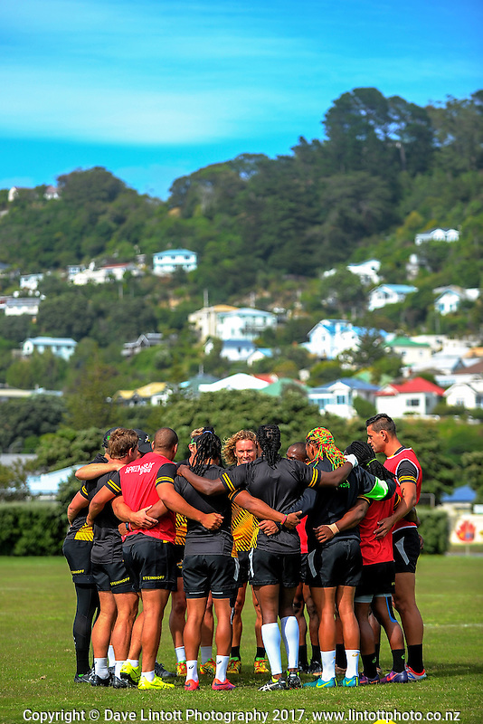 South Africa Sevens training at Evans Bay Park in Wellington, New Zealand on Friday, 27 January 2017. Photo: Dave Lintott / lintottphoto.co.nz