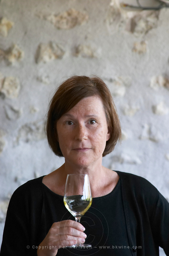 Britt Karlsson in the tasting room. Chavignol, Sancerre, Loire, France