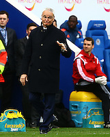 Leicester City manager Claudio Ranieri gestures on the touchline during the Barclays Premier League match between Leicester City and Swansea City played at The King Power Stadium, Leicester on 24th April 2016