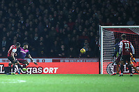 Neal Maupay scores Brentford's opening goal during Brentford vs Aston Villa, Sky Bet EFL Championship Football at Griffin Park on 13th February 2019
