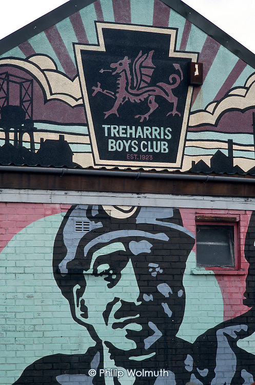 A mural of a miner on the wall of the Teharris Boys Club. The mining village's twp pits were closed in 1991 and 1992.