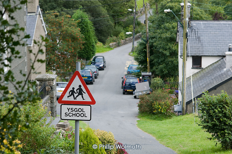 Welsh language sign for the village primary school in Croesor in the Snowdonia National Park, North Wales