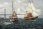 "Two Santa Fe Railroad tugboats passing in San Francisco Bay near the Bay Bridge in California. Oil on canvas, 18"" x 26""."