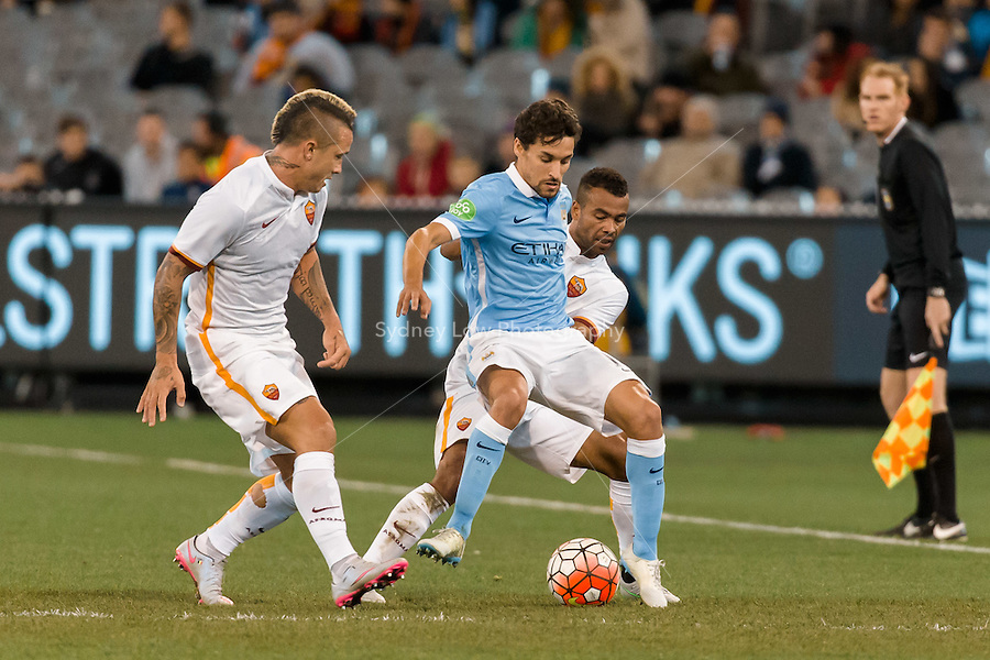 Melbourne, 21 July 2015 - Jesús Navas of Manchester City protects the ball in game two of the International Champions Cup match at the Melbourne Cricket Ground, Australia. City def Roma 5-4 in Penalties. (Photo Sydney Low / AsteriskImages.com)