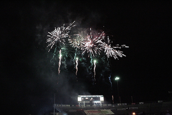 DENTON, TX  NOVEMBER 19: Fireworks at Fouts Field  -  of North Texas Mean Green vs University Louisiana Monroe Warhawks at Fouts Field in Denton on November 19, 2005 in Denton, TX. ULM won 24-19. Photo by Rick Yeatts