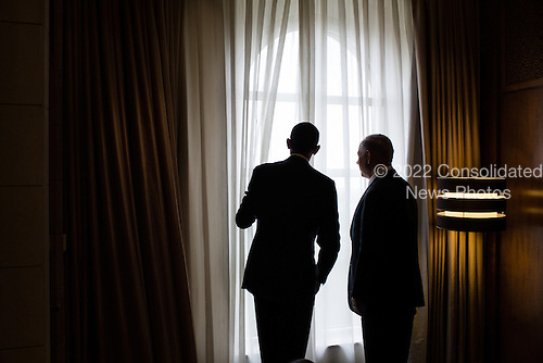 United States President Barack Obama and Prime Minister Benjamin Netanyahu of Israel look out a window before their lunch at the King David Hotel in Jerusalem, March 22, 2013..Mandatory Credit: Pete Souza - White House via CNP