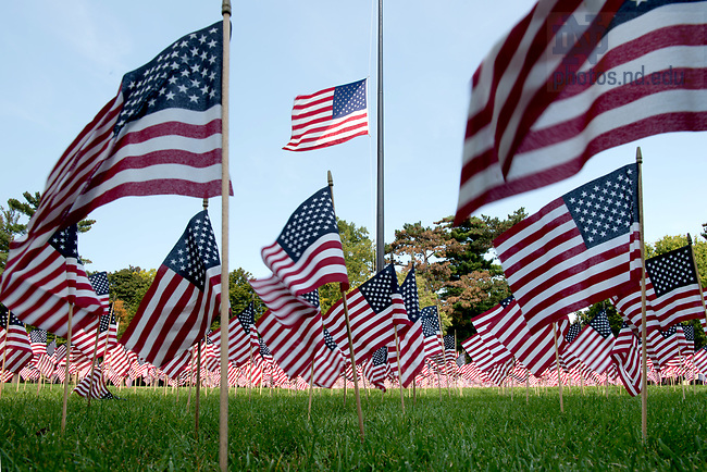 September 11, 2017; 9-11 Memorial on South Quad (Photo by Matt Cashore/University of Notre Dame)