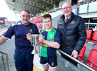 Saturday 13th April 2019 | Ballynahinch 4 vs Banbridge 3<br /> <br /> Aaron Samuel and Chris Gibson receive the Crawford Cup form Ulster Branch President Stephen Elliott after the Hinch defeated Banbridge  in the Crawford Cup final at Kingspan Stadium, Ravenhill Park, Belfast, Northern Ireland.  Photo by John Dickson / DICKSONDIGITAL