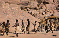 Namibia Africa Damara tribe traditional life in Damaraland in Damara Living Museum dancing tribe