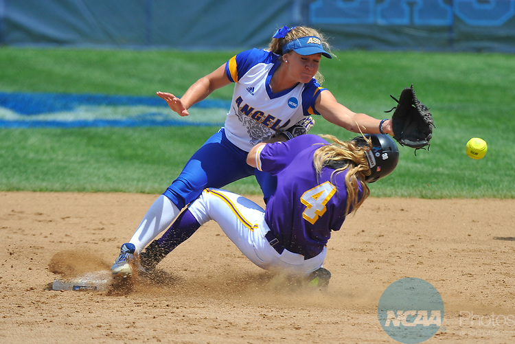 SALEM, VA - MAY 29:  McKenzie Paap (4) of Minnesota State University slides safely into second past Danae Bina (3) of Angelo State University during the Division II Women's Softball Championship held at Moyer Park on May 29, 2017 in Salem, Virginia. Minnesota State defeated Angelo State 5-1 to win the national championship. (Photo by Andres Alonso/NCAA Photos via Getty Images)