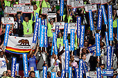 Signs in the California delegation during the fourth session of the 2016 Democratic National Convention at the Wells Fargo Center in Philadelphia, Pennsylvania on Thursday, July 28, 2016.<br /> Credit: Ron Sachs / CNP<br /> (RESTRICTION: NO New York or New Jersey Newspapers or newspapers within a 75 mile radius of New York City)
