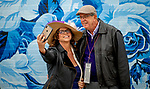 November 2, 2018: Two fans take a selfie in from of a mural on Breeders' Cup World Championship Friday at Churchill Downs on November 2, 2018 in Louisville, Kentucky. Scott Serio/Eclipse Sportswire/CSM