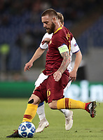 Football Soccer: UEFA Champions League  AS Roma vs PFC CSKA Mosca Stadio Olimpico Rome, Italy, October 23, 2018. <br /> Roma's captain Daniele De Rossi in action during the Uefa Champions League football soccer match between AS Roma and PFC CSKA Mosca at Rome's Olympic stadium, October 23, 2018.<br /> UPDATE IMAGES PRESS/Isabella Bonotto