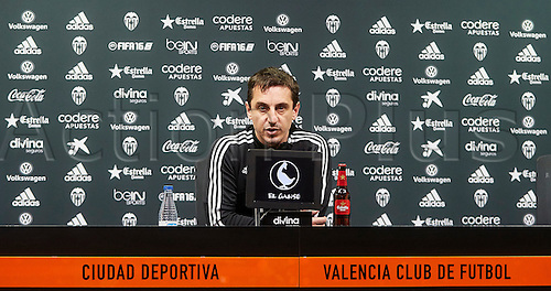 09.02.2016, Valencia CF Sports City, Press conference Gary Neville after a training session.