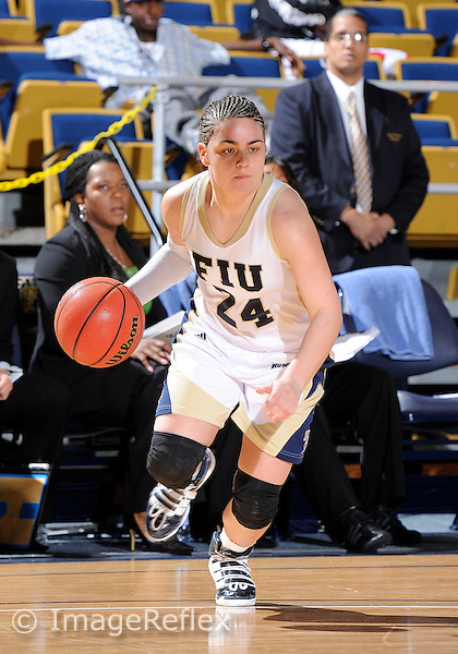 Florida International University guard Carmen Miloglav (24) plays against Middle Tennessee State University.  FIU won the game 62-59 on January 29, 2011 at Miami, Florida. .