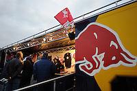 DFB Pokal 2011/12 2. Hauptrunde RasenBallsport Leipzig - FC Augsburg Fans vor dem Merchandising Truck.