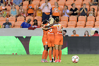Houston, TX - Saturday July 22, 2017: Nichelle Prince celebrates her goal with her teammates during a regular season National Women's Soccer League (NWSL) match between the Houston Dash and the Boston Breakers at BBVA Compass Stadium.