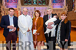 Baby Jamie Broderick with his parents Moira McMahon & Sean Broderick, Listowel, god parents Peter McMahon & Jean Kelly and  Canon Declan O'Connor who was christened at St. Mary's Church Listowel on Saturday last and afterwards at Behan's Horseshoe Bar & Restaurant, Listowel.
