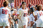 Los Angeles, CA 04/22/16 - Caroline Lyra (USC #25) in action during the NCAA Stanford-USC Division 1 women lacrosse game at the Los Angeles Memorial Coliseum.  USC defeated Stanford 10-9/