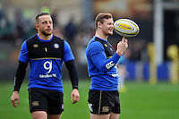 Chris Cook of Bath Rugby with the ball during the pre-match warm-up. Aviva Premiership match, between Bath Rugby and Worcester Warriors on December 27, 2015 at the Recreation Ground in Bath, England. Photo by: Patrick Khachfe / Onside Images