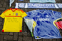 Tributes to Emiliano Sala outside the Cardiff City StadiumWednesday 23 January 2019<br /> Re: Premier League footballer Emiliano Sala was on a flight which disappeared between France and Cardiff.<br /> The Argentine striker was one of two people on board the Piper Malibu, which disappeared off Alderney on Monday night.<br /> Cardiff City FC, signed the 28-year-old from French club Nantes.