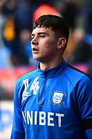 Preston North End's Jordan Storey warms up <br /> <br /> Photographer Richard Martin-Roberts/CameraSport<br /> <br /> The EFL Sky Bet Championship - Bolton Wanderers v Preston North End - Saturday 9th February 2019 - University of Bolton Stadium - Bolton<br /> <br /> World Copyright &copy; 2019 CameraSport. All rights reserved. 43 Linden Ave. Countesthorpe. Leicester. England. LE8 5PG - Tel: +44 (0) 116 277 4147 - admin@camerasport.com - www.camerasport.com