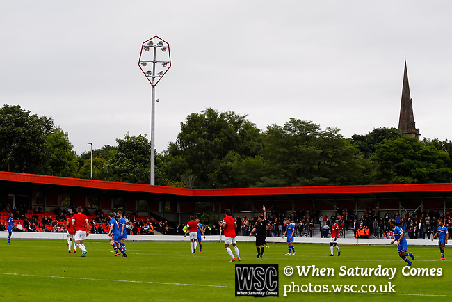 Salford City 2 FC United of Manchester 1, 15/07/2017. Moor Lane, Pre Season Friendly. Salford City v FC United of Manchester in a pre season friendly at Moor Lane Salford. Photo by Paul Thompson.