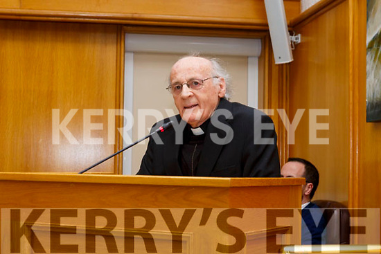Fr Pat Ahern at the Civic Award for his outstanding contribution to the artistic, cultural and literary tradition of the county at the Kerry County Council chambers on Monday afternoon last.