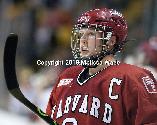 Alex Biega (Harvard - 3) - The Boston College Eagles defeated the Harvard University Crimson 6-0 on Monday, February 1, 2010, in the first round of the 2010 Beanpot at the TD Garden in Boston, Massachusetts.