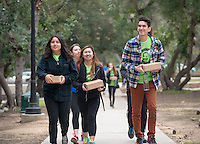 Walking from Thorne Hall to busses. Occidental College students, staff and alumni volunteer all over the Los Angeles area as part of MLK Day of Service, organized by the Office of Community Engagement, on Saturday, Jan. 23, 2016.<br /> (Photo by Marc Campos, Occidental College Photographer)