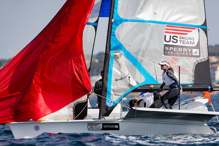 20140331, Palma de Mallorca, Spain: SOFIA TROPHY 2014 - 850 sailors from 50 countries compete at the ISAF Sailing World Cup event. 49erFX - USA216 - Kristen Lane / Margaret Shea. Photo: Mick Anderson/SAILINGPIX.